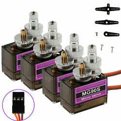 4Pcs MG90S Micro Metal Gear Moto Servo 9g for RC Airplane Helicopter Boat Car US $11.55