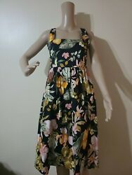NWT Barneys New York Black Floral Print Cotton Fi&Flare Dress Size 36    $385 $39.99