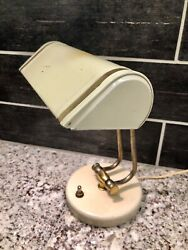 Vintage MCM Bankers Desk Lamp Office Piano Cream Gold Retro Metal 11.5