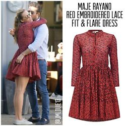 Maje Rayano Red Embroidered Cotton Fit & Flare Dress $495 Sz 2 (US 4 6) Medium $109.00