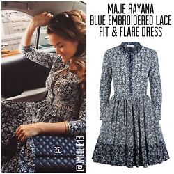 Maje Rayana Blue Embroidered Cotton Fit & Flare Dress $495 Sz 2 (US 4 6) Medium $109.00