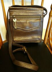 FOSSIL Vintage Brown Leather Crossbody Shoulder Purse Bag GUC $9.99