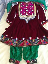 Traditional Afghan red Dress Handmade Size 8 9 GBP 90.00