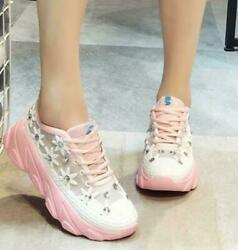 Lace ups Womens Rhinestones Sports Casual Shoes lady#x27;s Girls Loafers Mesh $31.10