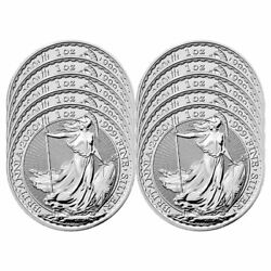 Lot of 10 - 2020 U.K. 2 Pound Silver Britannia .999 1 oz Brilliant Uncirculated $347.60