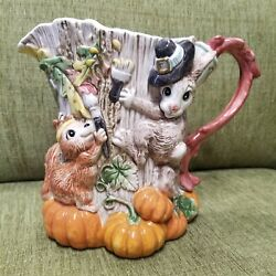 Fitz and Floyd Paint Party Fall Pumpkin Pitcher Fox Squirrel Rabbit Tree Trunk $48.00