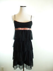 BETSEY JOHNSON BLACK PINK LAYERED netting TULLE RUFFLES DRESS 6