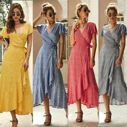Women#x27;s V Neck Floral Strappy Maxi Dresses Ladies Summer Holiday Sexy Sundress $18.59