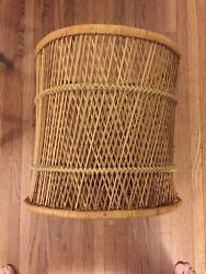 Vintage Wicker Stool Mid Century Side Table  $68.00