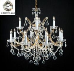 13 LIGHT GOLDISH MARIA THERESA DINING ROOM FOYER KITCHEN CRYSTAL BALL CHANDELIER $494.99