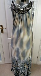 CHARLOTTE GOLD Long Jersey Maxi Dress 14 Evening Beach Holiday Embellished Belt $26.19