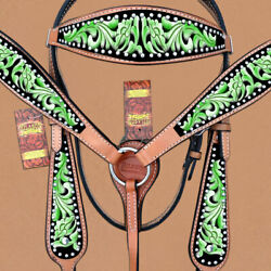 Western Horse Headstall Breast Collar Set Tack American Leather Green U--GRN $99.95