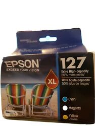 Tri-pack Genuine Epson 127 XL Color Ink for Epson Stylus NX530 & WF Exp: 052022 $42.95