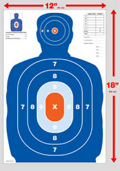 NEW 25 Orange amp; Blue Silhouette gun rifle paper shooting targets 12X18 $10.95