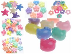 50 Mixed Pastel Color Acrylic Various Shape Beads Flower Star Cross Kids Craft $3.47