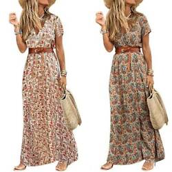 Women Boho Floral Belted Short Sleeve Maxi Dress Sunmmer Holiday V-Neck Dresses $18.80