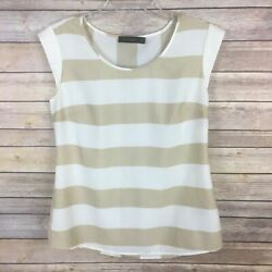 The Limited Women's Blouse Size Small Brown White Striped Cap Sleeve $11.89