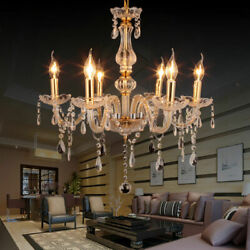 Luxurious Chandelier E12 Pendant Lamp Crystal Glass Ceiling Light Gold 6 Arms $59.89