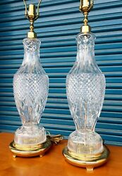Luxe Vtg Waterford Crystal Ireland Pair Table Lamps Brass 35quot; $1249.99
