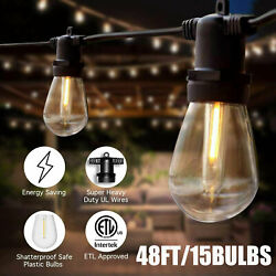 48ft Outdoor Patio Vintage Garden Yard Commercial Grade LED String Lights IP65 $35.99