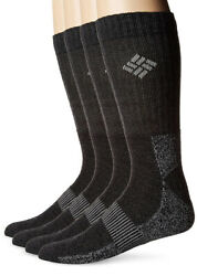 Columbia Men's Size 6 12 Socks Moisture Control Ribbon 4 Pack Black New $19.99