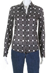 Theory Womens Printed Button Down Blouse Brown Size Small $29.99