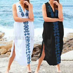 Women V neck Floral Long Dress Summer Beach Holiday Maxi Sun Dresses Plus Size $15.63