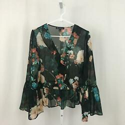INC International Concepts NEW Women's Size Medium Black Long Sleeve Blouse NWOT