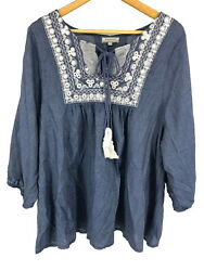 World Market Womens Peasant Top Mirrors Embroidery Blouse Boho Denim Blue L XL $19.99