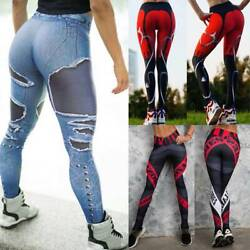 Women Sports Compression Fitness Leggings Running Yoga Pants Gym Workout Stretch $13.88
