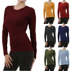 Womens Long Sleeve Thermal Top Crew Neck T Shirt Waffle Knit Layering Warm Soft $10.95