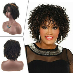 Short Curly Wigs Synthetic Hair Brown Gold Mix Afro Daily Wig for Black Women $19.98