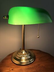 Vintage Brass Style Piano Bankers Desk Lamp Green Glass Shade  $31.00