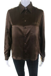Equipment Womens Silk Button Down Long Sleeve Blouse Brown Size Small $29.99