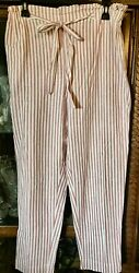 Lot of 2 Beach Lunch Lounge Giavanna Pull On Linen Blend Beach Pants Large $29.99