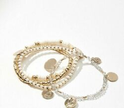 ANN TAYLOR LOFT SUNGLOW STRETCH BRACELET SET NWT LOT OF 4 Gold Cream New Arrical $9.99