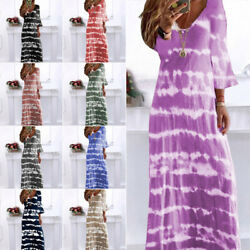 Womens V Neck Maxi Dress Ladies Gradient Long Sleeve Casual Loose Boho Dresses $22.49
