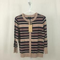 Halogen Nordstrom NEW Women#x27;s Medium Colorful Striped Button Down Sweater NWT $12.97