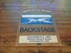 1981 Grateful Dead Indianapolis IN 12-5-1981 Concert Tour Crew Backstage Pass