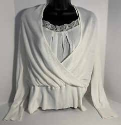 White House Black Market Short Sweater And Cami Top Set Sz L Cream NWT $24.99