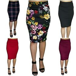 Womens Pencil Midi Office Skirt Soft Stretch Waist High Waist Knee Length*Lapiz $11.99