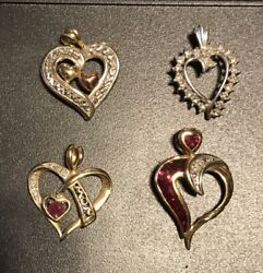 Lot of 4 Yellow or White Gold 10K HEART Pendants 5.6 grams $149.95
