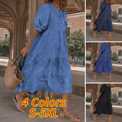 Women Short Sleeve Casual Plain Dresses Loose Baggy Shirt Dress Ruffle Sundress $16.69