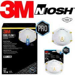 3M 8511 N95 Cool Flow Valve Protective Face Mask Cover NIOSH Respirator 2 5 PACK $54.89