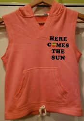 Pink Beatles Here Comes the Sun Girls Hoodie Vest Sweatshirt Vintage Havana L 14 $23.99