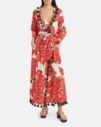RHODE Resort Lena Tasseled Robe Wrap Dress $422 NWT SMALL Rose Bouquet $170.00