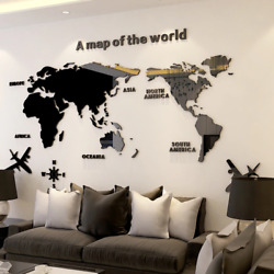3D Wall Sticker Acrylic Wall Decorations Living Room Bedroom World Map Stickers $16.00