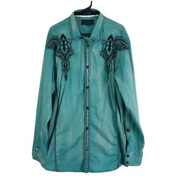 Roar Signature Embroidered Shirt Mens XL Teal Distressed Sequins Long Sleeve Euc $49.79