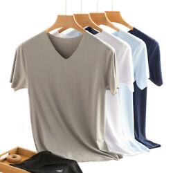 Summer Thin Cool Men V neck T shirt Stretch Seamless Sports Fitness Plus Size $11.10