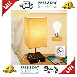 Dimmable 3 Way Touch Control Bedside LampCotanic Modern Table Lamp with USB Cha $43.65